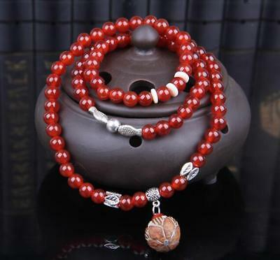 6 mm New natural crystal red agate garate 3 laps bodhi pendant bracelet necklace