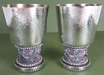 Couple Of Wine Cups. Silver Enamelled And Punched. Spain.1971.