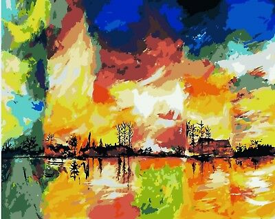 SEASONS ABSTRACT PAINTING PAINT BY NUMBERS CANVAS KIT 20 x 16 ins FRAMELESS