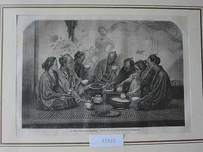 92922-Asien-Asia-Japan-Nippon-Nihon-Bourgeoise Diner-T Holzstich-Wood engraving