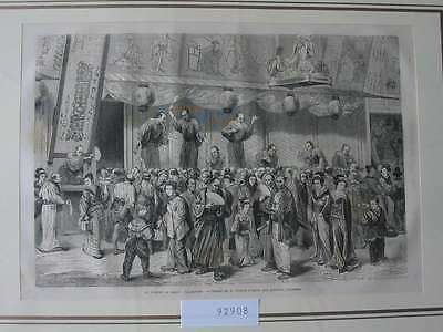 92908-Asien-Asia-Japan-Nippon-Nihon-Theater-Theatre-T Holzstich-Wood engraving