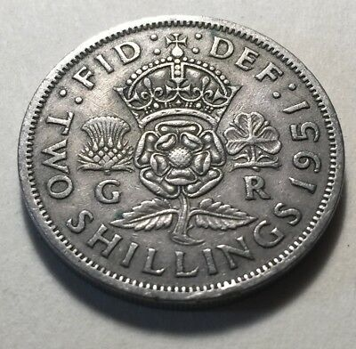 Great Britain (UK) 1951 Two Shillings (Florin) Coin - King George VI
