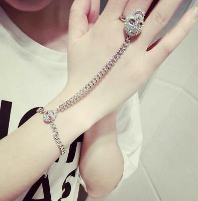 Korean style cool skull bracelet ring conjoined chain personality punk unisex