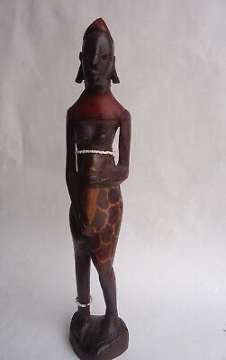 Hand carved wood sculpture statue  African tribal woman painted