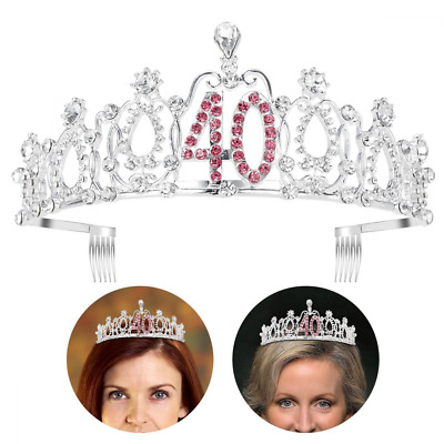 UNOMOR Crystal Birthday Crown and Tiara Crown for 40th Birthday