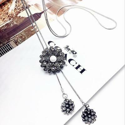 Women fashion retro flower long necklace rose pendant sweater chain gift party