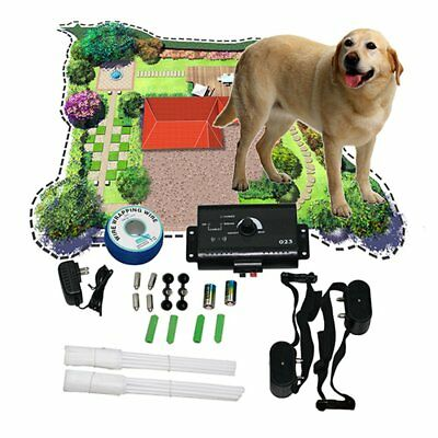 Underground Electric Dog Fence Fencing 2 Shock Collars Waterproof System Safety