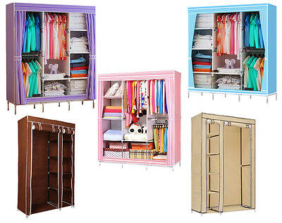 Double Triple Canvas Folding Close Wardrobe Cupboard Hanging Clothes Storage NM