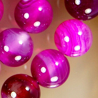 """8mm Magenta Banded Agate Round Beads 15"""""""