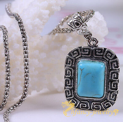 New Bohemian Silver Plated Turquoise Charm Chain Necklace Pendant Jewelry Hot