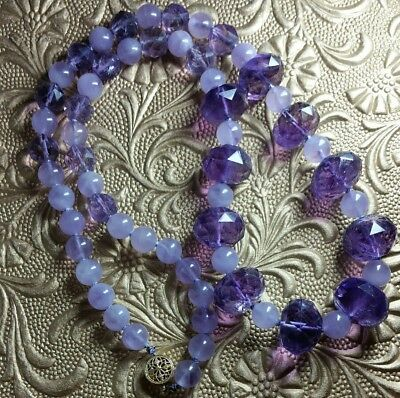 Vintage Genuine Natural Faceted Amethyst Bead Hand Knotted Gold Filled Necklace