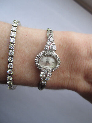 *~*~ Beautiful Vintage/Antique Benrus Diamond Watch 14k/10k White Gold ~*~*