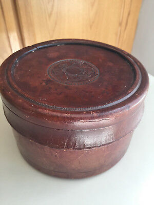 1879 No. 155 Antique Brown leather Collar Box Family Crest Stamp Beautiful Shape