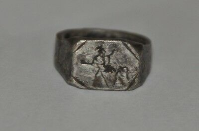 Septimius Severus Ancient Roman Empire Legionary Silver Ring Legio I Parthica