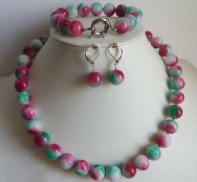Women Charming 10mm Colorful Jade Round Beads Necklace Bracelet Earrings Sets