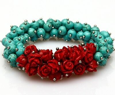 New Fashion handmade creations rose red coral turquoise lucky  woman  bracelet