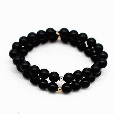 8mm New Natural Black Stone Pumice Beads Tibet Buddist Hand Chain Bracelet Man