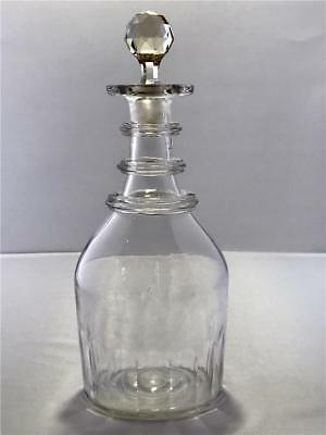 19th C Blown Cut Glass Decanter Bottle 3 Applied Neck Rings Flutes Bar Lip