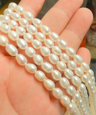 1pcs New 7-8mm White Freshwater Pearl Rice Beads String 15 inchs