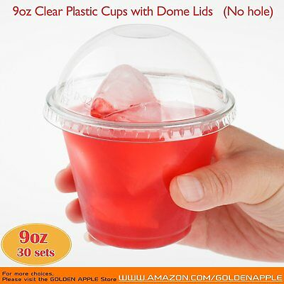 Clear Plastic Cups With No Holes Dome Lids Disposable Unbreakable Drinking Cup