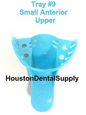 12 Dental Disposable Impression Trays Perforates Blue #9 SMALL ANTERIOR UPPER