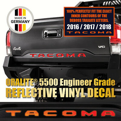 TACOMA REFLECTIVE RED Vinyl Decal Tailgate Letter Insert Sticker 2016 17 18 19