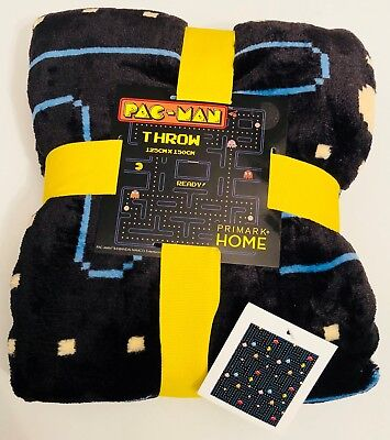 PRIMARK PAC-MAN FLEECE THROW BLANKET - 125CM X 150CM - Brand New