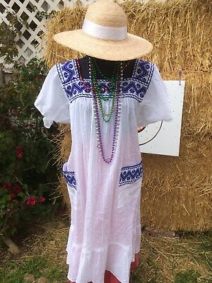 Mexican Dress Huipil Bata White Manta Hand Embroidered.