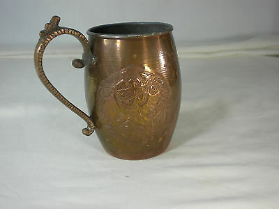 VERY RARE Early 1900s Antique Brass Mug Nader Factory Tehran Iran