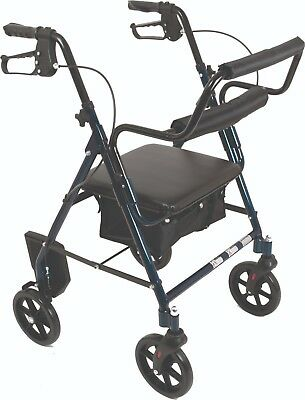 Blue Rollator Walker Transforms Into Transport Chair, 2 in 1, Footrests Included