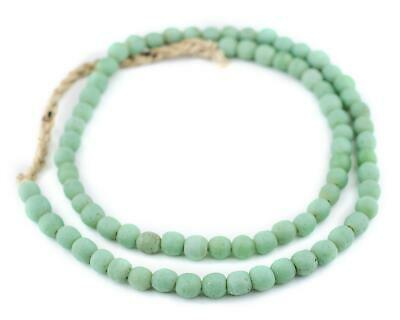 Pistachio Green Ancient Style Java Glass Beads 9mm Indonesia Round Large Hole