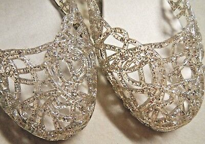 45bbb6b160bc jelly shoes GLAZE Size 9 Clear Silver Multi-Color Glitter Jellies Ballet  Flats
