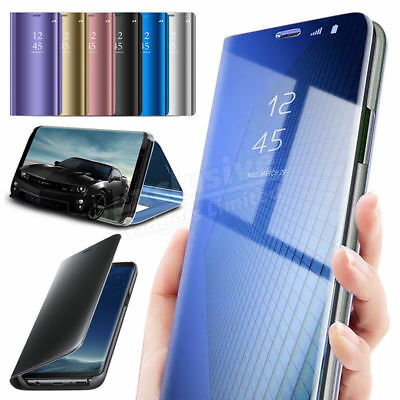New Samsung Galaxy S7 S8+ S9 + Smart View Mirror Leather Flip Stand Case Cover