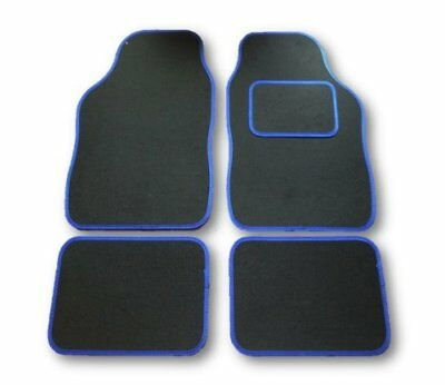 Universal Car Floor Mats Black With Blue Trim - Renault Clio Dynamique (01-08)