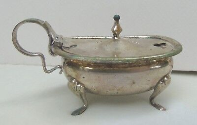 Early Vintage 1930ish 800 Silver Mustard Pot w/ Feet Plastic Insert Marked