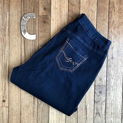 Lane Bryant Women's Jeans Size 16A Boot Cut Bling Pockets Dark Wash Denim