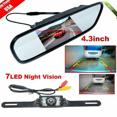 """4.3"""" TFT LCD Monitor Mirror+wired Reverse Car Rear View Backup Camera Kit MT"""