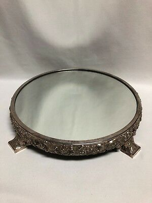 """Reed & Barton 187 Silver Plate Repousse Plateau Mirror 14.25"""""""