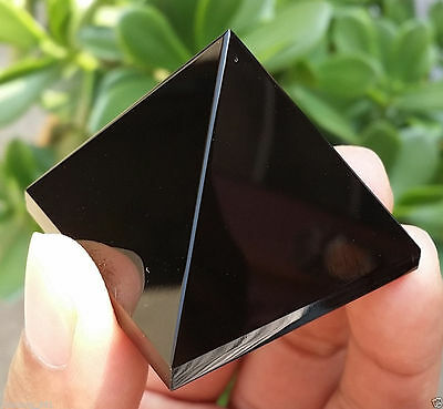50-60g 1pcs NATURAL Obsidian quartz crystal Pyramid healing lisa-08
