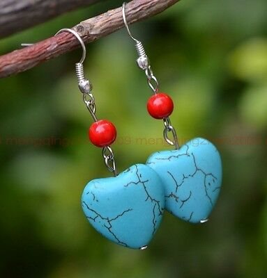handmade turquoise heart-shaped read beads earrings retro style women accessory