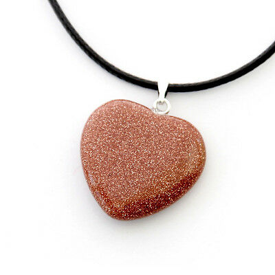 New Fashion Charming Goldstone Gem Heart  Shaped Pendant Jewelry Women Girl