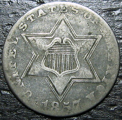 1857 3 Cent Silver Piece  --  MAKE US AN OFFER!  #W5331 ZXCV