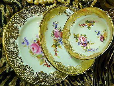 Hammersley & Co Fancy Tea Cup And Saucer Trio Gold Lace Hp Floral Bouquet Fab!