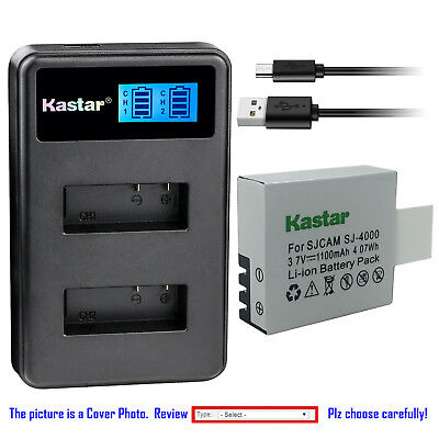 Kastar Battery LCD Dual Charger for SJCAM SJ4000B SJ4000 & SJCAM SJ9000 Camera