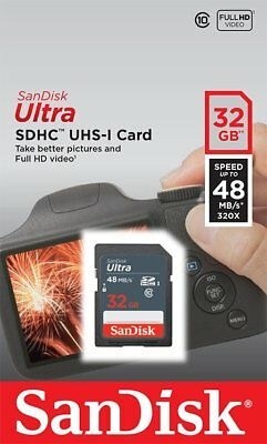 SanDisk 32GB Ultra Class 10 UHS-I SD 48MB/s Full HD Video SDHC scheda di memoria