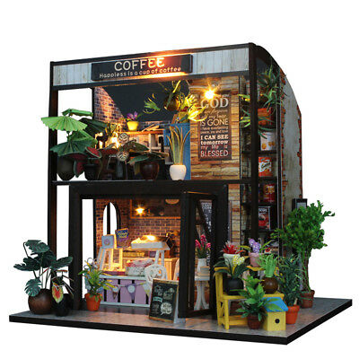 DIY Handcraft Time Cafe Doll House Toy Wooden Miniature Furniture LED Light Gift