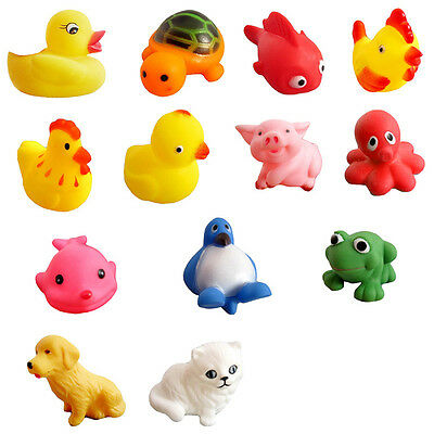 13x Baby Bath Toys Squeaky Rubber Animal Floating Water Children Kids Toy.