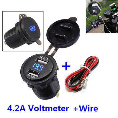Bule LED Motorcycle Dual USB Charger Socket Power Outlet 2.1A & 2.1A W/Voltmeter