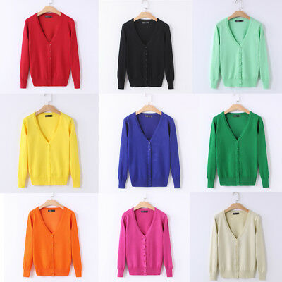 Women Spring Knitted Button Down Cardigan Sweater Coat Jacket Tops Short Outwear