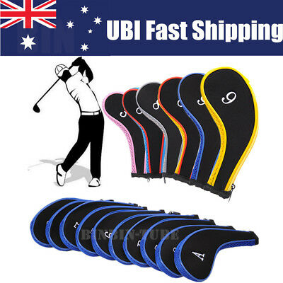 AU 10Pcs/Set Golf Iron Headcover Golf Club Cover Sleeve Protective Zipper Case
